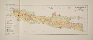Geologische overzichtskaart tevens vulkaankaart van java en Madoera