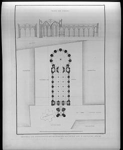 Grundriss und durchschnitte des entwurfs für den neubau der St Gerbrauds kirche.