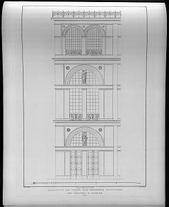 Architectur der façade nach groesserum maassstabe des theaters in Hamburg.