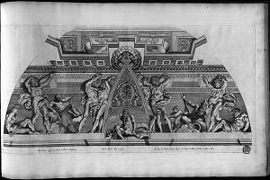 Eq. Ioannes Lanfrancus pinxit in Hortis Burghesiis. Petrus Aquila delin et incid. Io. Iacob de Rubeis formis Romę ad Templ. S. Marię de Pace cu Priu S. Pont.