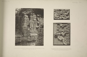 a) Part of step & of serpent's head ornament on the west side of the inner doorway of temple. b & c) Parts of cornice from the east side of inner doorway in temple. Photographs of the original sculpture in the South Kensington Museum