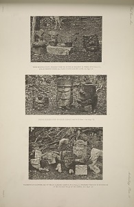 Three headless busts, probably from the exterior ornament of temple and an incense burner all found in the eastern court. Incense burners found on upper terrace ... Fragments of sculpture dug up whilst clearing temple ... probably portions of decoration of the outside walls of the temple.