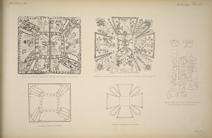 Maya calendar from the Codex Cortesianus (See Page 41). Mexican calendar from Plate 44 of the Fejervary Codex (See Page 41). Inscription from the back of the stone head figured on pages 44 & 47. Scheme of Mexican Calendar. Scheme of Maya Calendar.