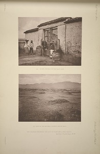 (a) Stone figures on the road side. (b) View of the mounds, looking south west. The mounds between the city of Guatemala and Mixo. See Plate 74 and Pages 38-39.