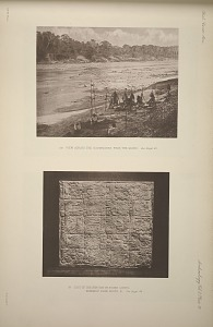 (a) View across the Usumacinta from the ruins. See Page 42. (b) Cast of inscription of stone lintel, probably from house B. See Page 44.