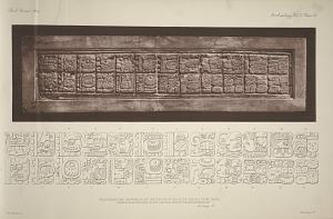 Photograph and drawing of the inscription on the outer side of a stone lintel from a plaster cast of the original now in the Berlin Museum. See Page 47.