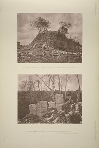 (a) Mound, Plate 2, No. 9, from the north east, See Plate 24, and pages, 23-24. (b) Mound, Plate 2, No. 9, Bases of serpent columns on summit of mound.