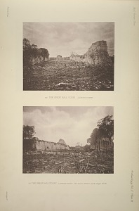 (a) The great ball court. Looking north. (b) The great ball court. Looking south. See Plates 26 & 27, and Pages 25-29.
