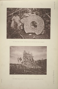 The great ball court. The ring fallen from the west wall, See page 25. The great ball court. Temple C, See Plate 26 and pages 25-26.