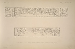 The great ball court. Temple A. Carving on the under-lintel of the inner doorway. See Plate 35. and Pages 29-30.
