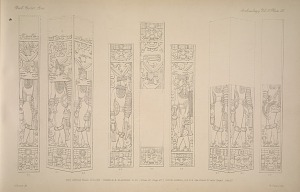 The great ball court. Temple A. Plasters h. 1-6. (Plate 27, Page 27.) Door jambs, k.4, 5-9. See Plate 27 and Pages 29 & 30.