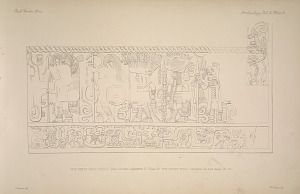 The great ball court. Sculptured chamber E. Plate 27. The north wall. See Plate 44 and Pages 32-33.