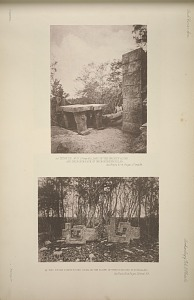 (a) Temple No. 17 (Place 60), part of the broken altar and the north face of the northern pilla. See Plate 61 & Pages 37 and 38. (b) Two stone frets found lying on the slope of temple mound No. 18 (Plate 60). See Plate 32 & Pages 29 and 39.