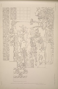 Drawing of wooden lintel, probably from the outer doorway of Temple A. See Plate 72 & Pages 45-47.