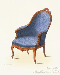 Fauteuil & Chaise Marquise. Ameublement d'une Chambre à coucher (Genre Louis XV)