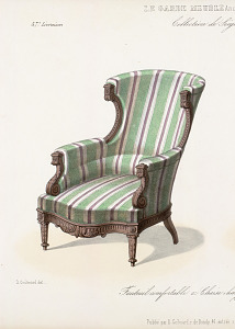Fauteuil confortable, chaise chauffeuse, Style Louis XVI