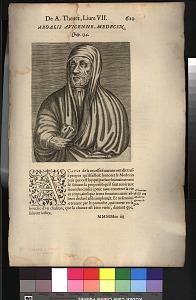 Removed from book: André Thevet, Les vrais pourtraits et vies des hommes illustres, 1584. Livre VII, p. 620, Chap. 134, signed MMMMm iiij recto.