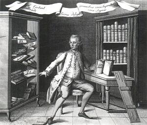 Photographic print of engraved title page portrait for Felkel's Tafel aller einfachen Factoren… (Wien, 1776).