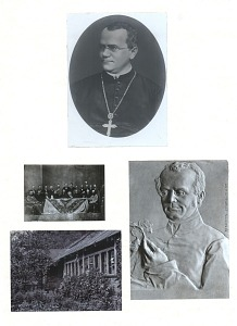 Mounted on sheet with three additional photographs: bas-relief portrait (sculpture by Theodore Charlemont), group portrait, and photo of a building and yard.