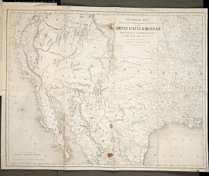 General map showing the countries explored explored and surveyed by the U.S. and Mexican & Boundary Commission in the years 1850, 52, 52 & 53