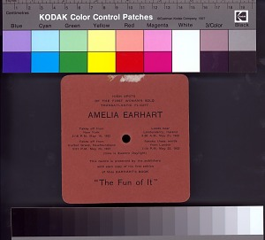 This record is presented by the publishers with each copy of the first edition of Miss Earhart's book