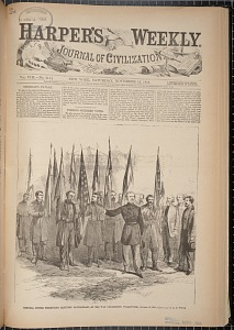 General Custer presentig captured battle-flags at the War Department, Washington
