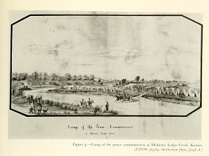 Camp of the peace commissioners at Medicine Lodge Creek, Kansas.