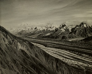 Logan Glacier and the Saint Elias Mountains.