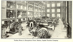 Turbine room in Georgetown Power Station, Capital Traction Company.