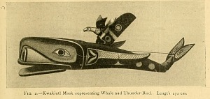 Kwakiutl mask representing whale and thunder-bird.