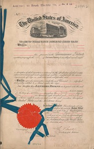 Patent No. 203,412 granted to Charles F. Brush for an improvement in magneto-electric machines.