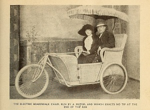 The electric boardwalk chair run by a motor.