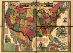 Centennial American Republic and Railroad Map of the United States