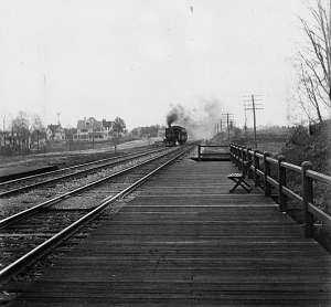 Passenger train approaching the B&O station at Takoma Park