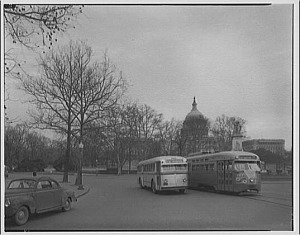 Company bus and streetcar, Washington, 1947