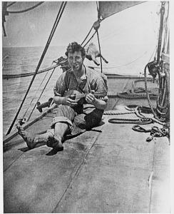 Harry Bridges onboard a sailing ship