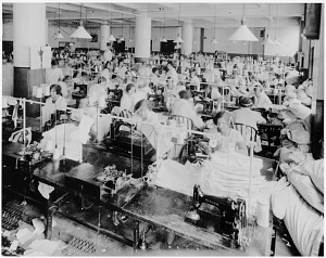 Workers at the Kops Bros. clothing factory, New York City, 1928