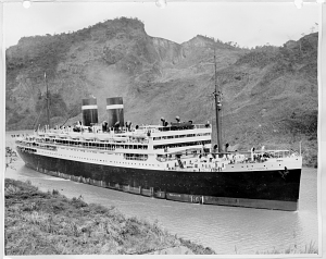 The California steaming through the Panama Canal, about 1930