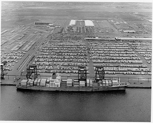 Aerial view of container-ship facilities at Port Newark/Port Elizabeth, New Jersey, early 1980s