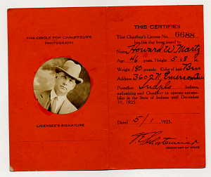 Drivers' license, Indiana, 1925