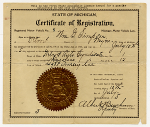Automobile registration certificates, Michigan, 1905