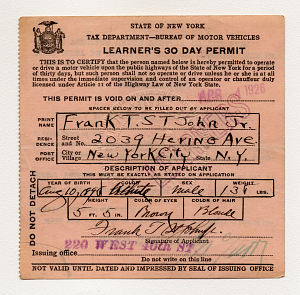 Drivers' license, New York, 1926