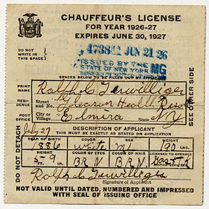 Automobile registration certificates, New Hampshire, 1931