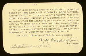 Woodrow Wilson's Lincoln Highway Association membership card, 1913 (replica)