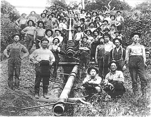 Pipeline workers, about 1900