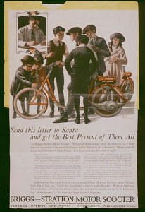 Ad for Briggs-Stratton motor scooter, about 1915