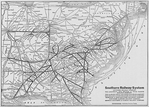 "Map depicting ""The Southern Railway System,"" 1927"