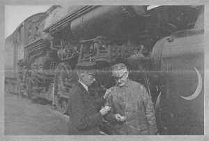 Southern Railway conductor C. Frank Marshall and engineer David L. Fant compare watches, Greenville, South Carolina, 2:48 p.m., January 4, 1929