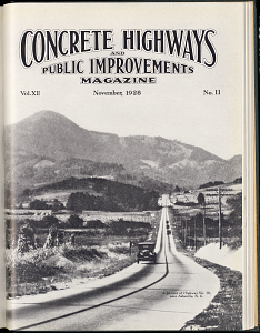 Magazine cover showing Highway 10 near Asheville, North Carolina, 1928
