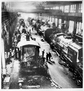 Main erecting hall, Spencer Shops, with steam locomotives in various stages of tear-down or reassembly